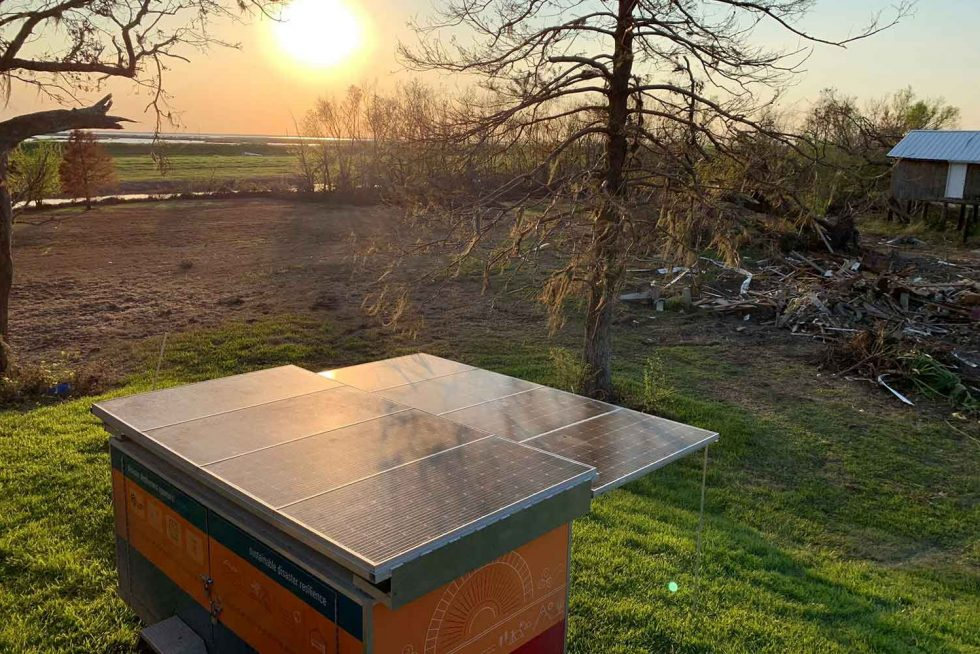 One of NUE products: A solar trailer powering a remote community after a disaster